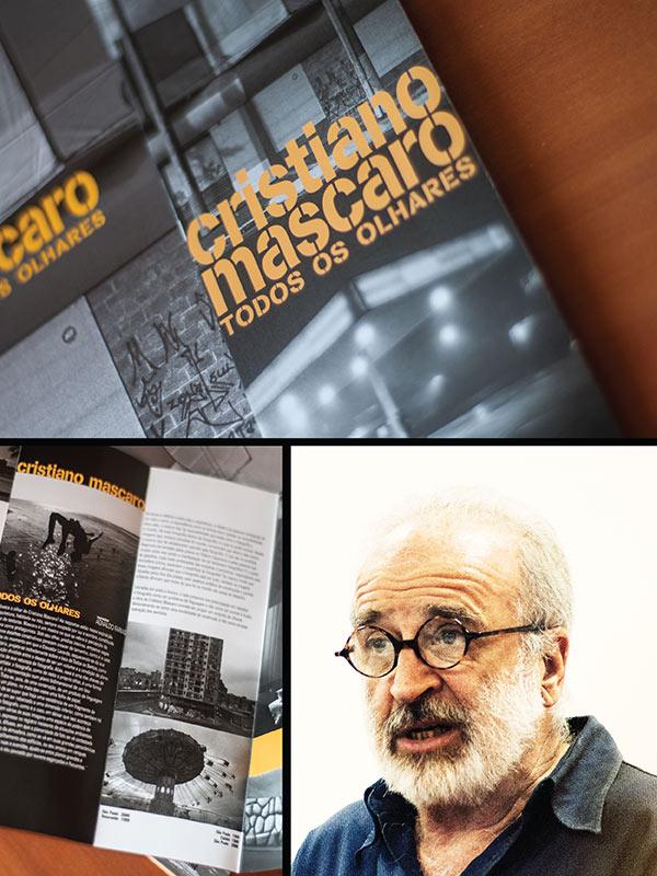 Material de divulgação da exposição de 2008 e retrato de Cristiano Mascaro durante a palestra.